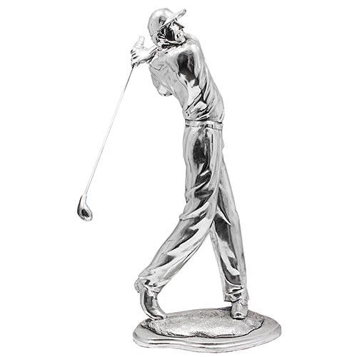 Estatua Golfista Prateado Lançando Oldway - 58x27 cm