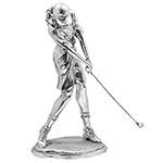Estatua Golfista Prateado Oldway - 59x29 cm
