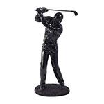 Estátua Golfista Preto Fullway - 38x17 cm