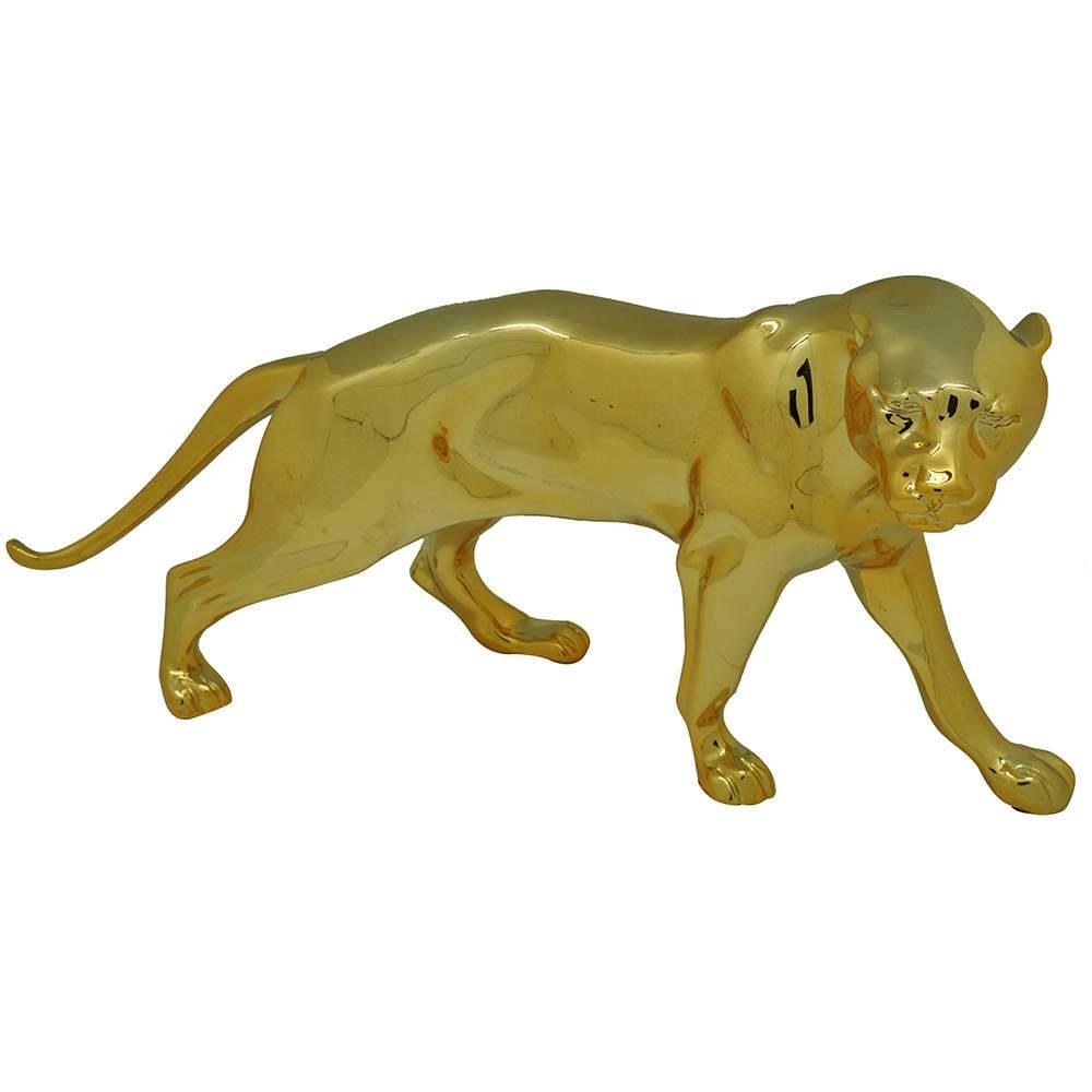 Estátua Jaguar Dourada em Resina - Urban - 35,5x18 cm