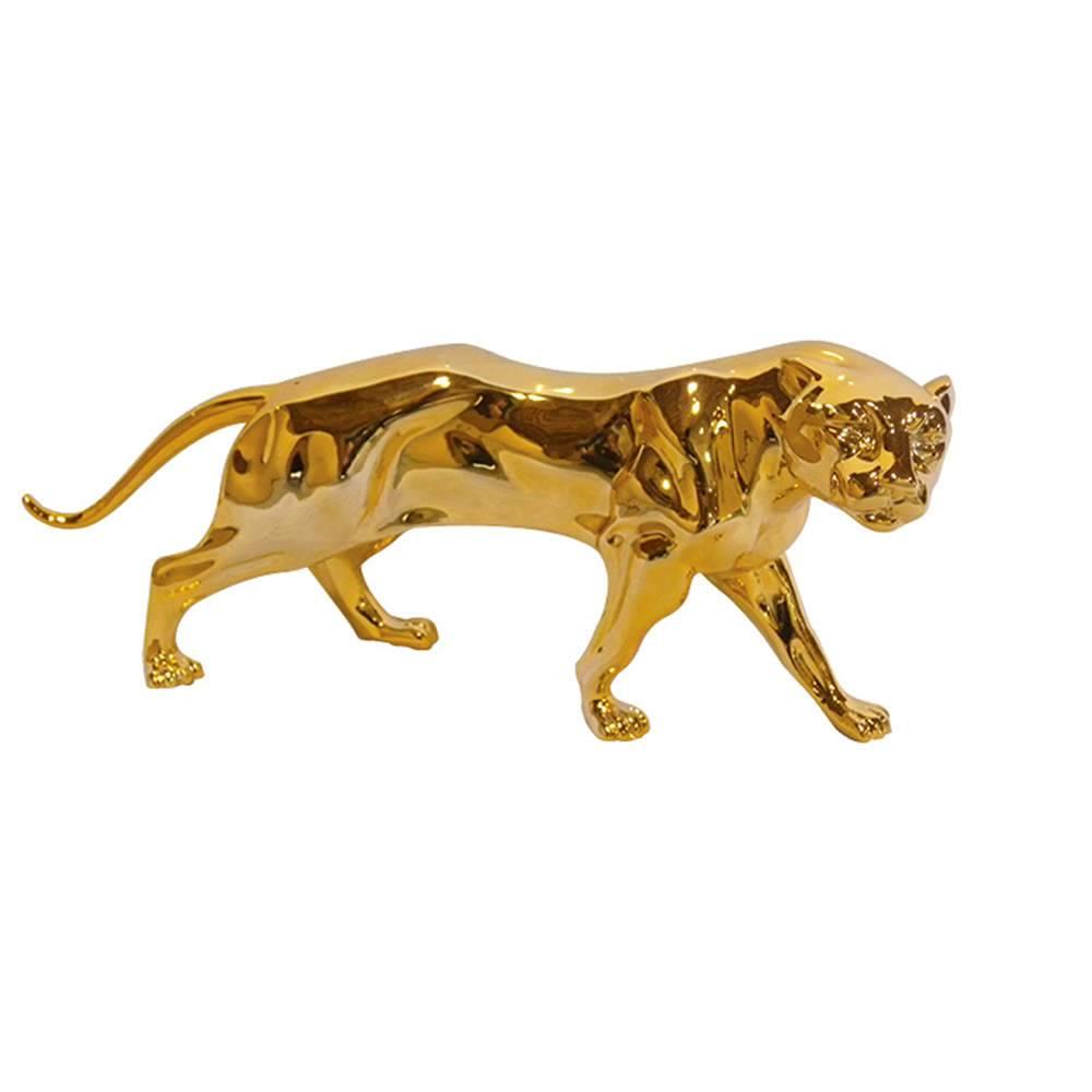 Estatua Jaguar Dourada em Resina - Urban - 47x20 cm