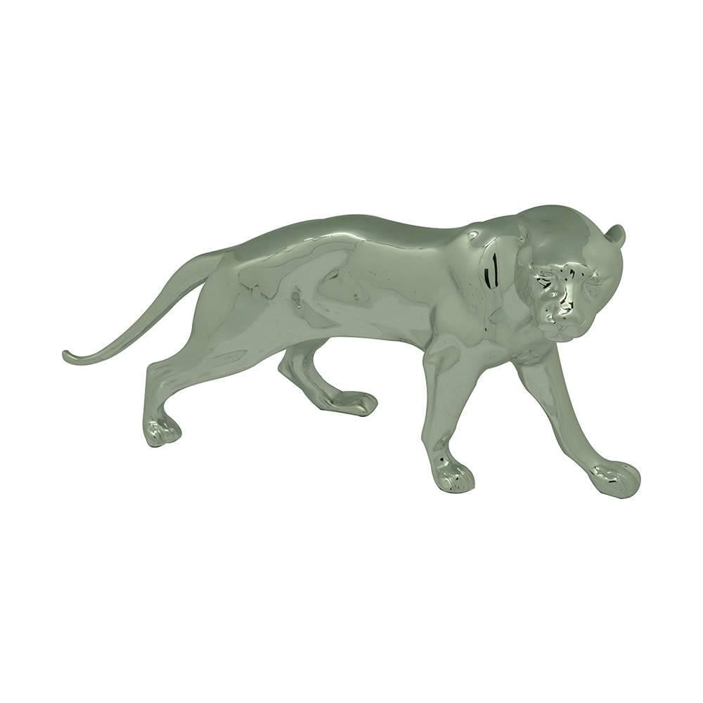 Estátua Jaguar Prata em Resina - Urban - 35,5x18 cm