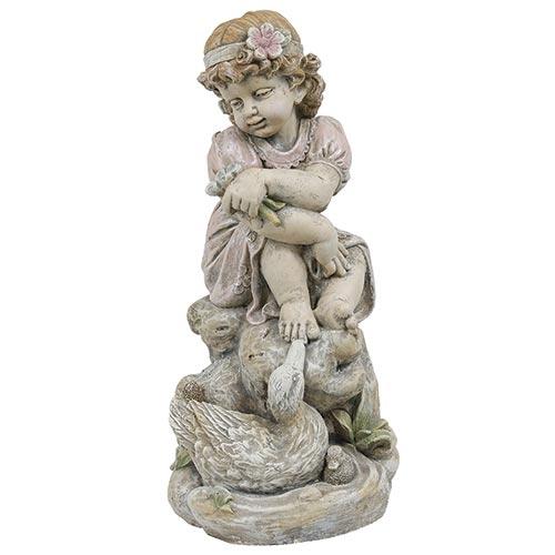 Estatua Menina com Flor Greenway - 58x36 cm