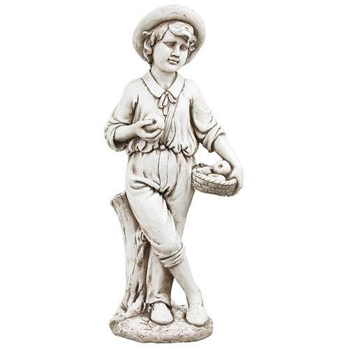 Estátua Menino Cesto Maças greenway - 97x31x41cm