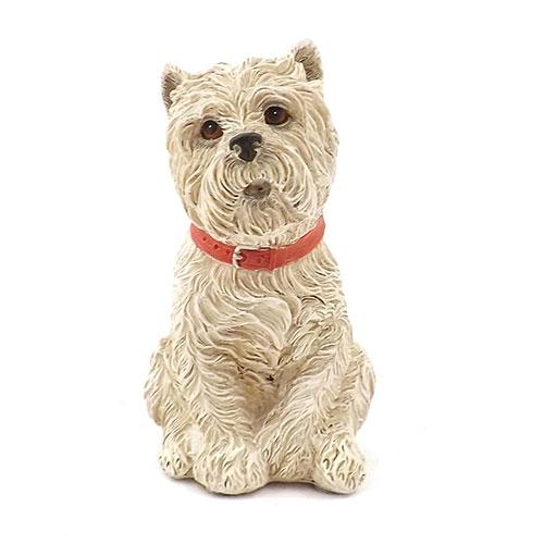 Estátua / Miniatura Cachorro Branco - Em Gesso - 7x15 cm