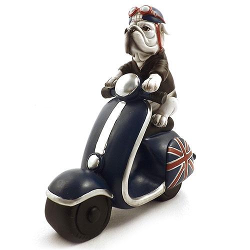 Estátua / Miniatura de Cachorro Buldog com Motonet Inglesa - Em Resina - 22x24 cm