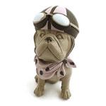 Estátua Cachorro Bulldog Aviador
