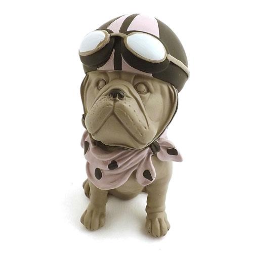 Estátua / Miniatura Cachorro Bulldog Aviador Com Capacete / Lenço e Óculos-Em Resina - 17x13cm