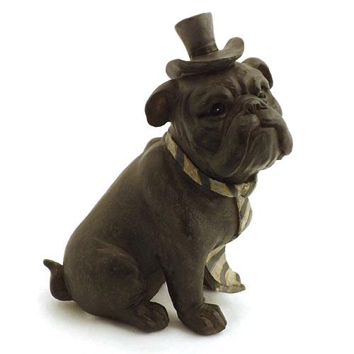 Estátua / Miniatura Cachorro Bulldog com Gravata - Em Resina - 18x15cm