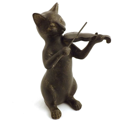 Estátua / Miniatura Gato Violinista - Em Resina - 20x11 cm