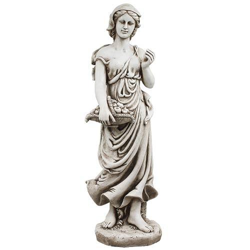 Estátua Mulher Cesto Maças Greenway - 120x33x41cm