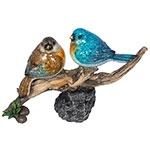 Estátua de Pássaros Azul/Marrom no Galho Greenway - 17x27 cm