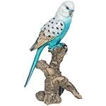 Estátua de Periquito Azul no Galho Grande Greenway - 33x19 cm