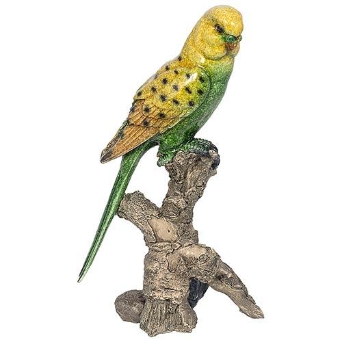 Estátua de Periquito Verde no Galho Grande Greenway - 33x19 cm