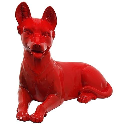 Estatua Vermelho Cachorro Deitado Fullway - 60x43 cm