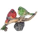 Estátuas de Pássaros Vermelho/Verde no Galho Greenway - 17x27 cm