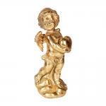 Estatueta Anjinho Segurando um Coração Dourada em Resina - 26x9 cm