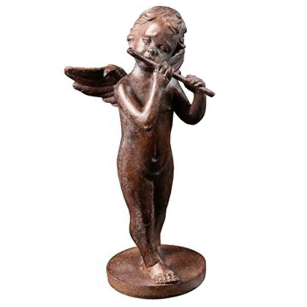 Estatueta Anjo Tocando Flauta Pequeno Marrom em Resina - 22x10 cm
