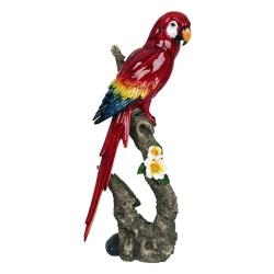 Estatueta Arara Vermelha no Galho Grande em Cerâmica