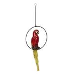 Estatueta Arara Vermelha Suspensa em Resina - 39x19 cm