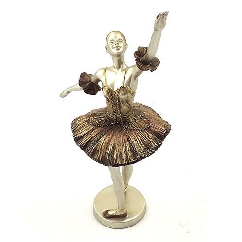 Estatueta Bailarina Dourada 1 Braço Erguido - Em Metal - 12x29 cm