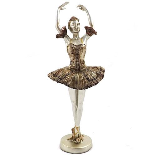 Estatueta Bailarina Dourada 2 Braços Erguidos - Em Metal - 13x31 cm