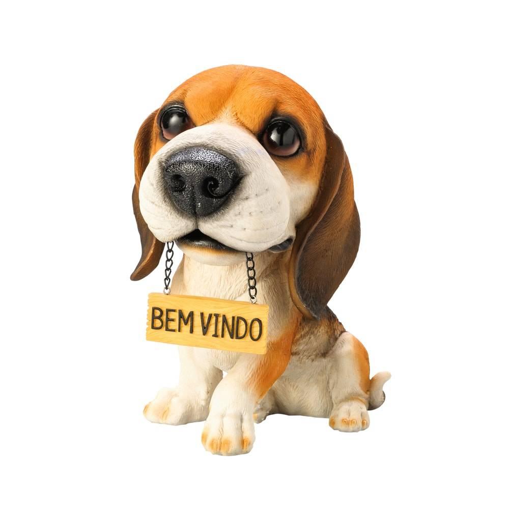 Estatueta Beagle c/ Placa Bem Vindo em Poliresina - Lyor Classic - 23 cm