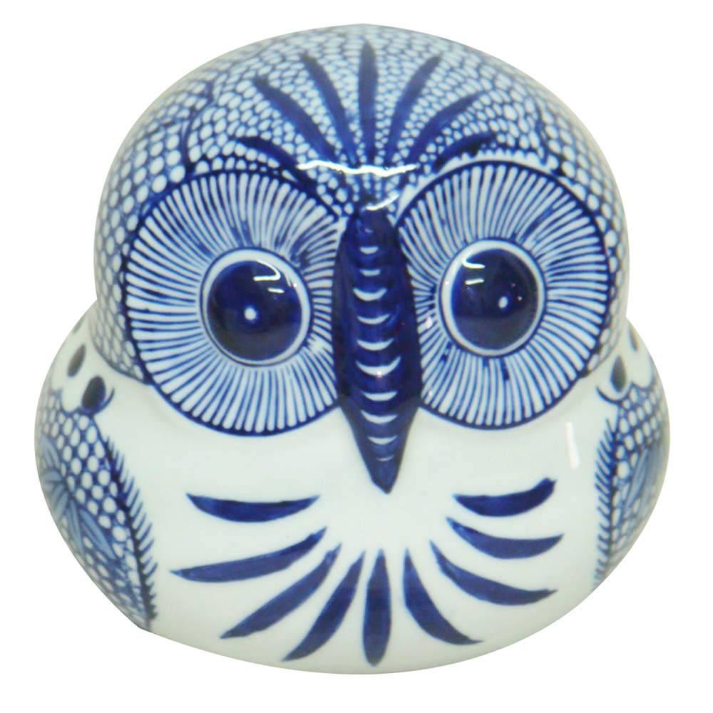Estatueta Blue Spirit Coruja Azul e Branco Grande em Porcelana - 15,5x14 cm