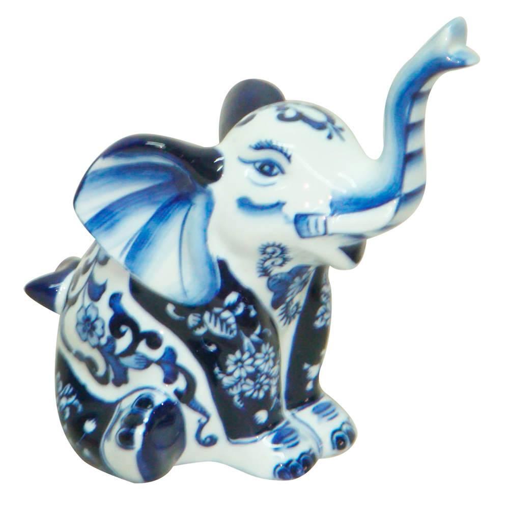 Estatueta Blue Spirit Elephant Sat Azul/Branco em Porcelana - Urban - 20,5x13 cm
