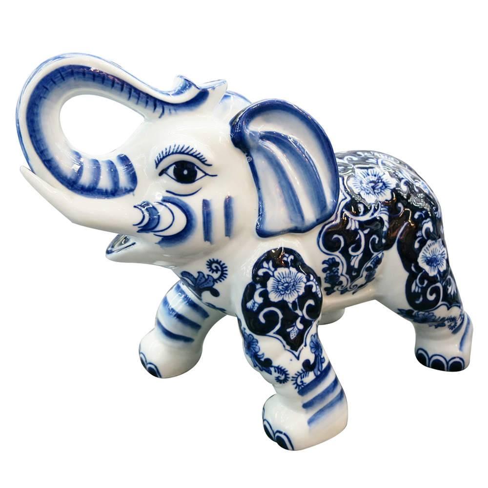 Estatueta Blue Spirit Elephant Standed Azul e Branco em Porcelana - Urban - 22,5x18 cm