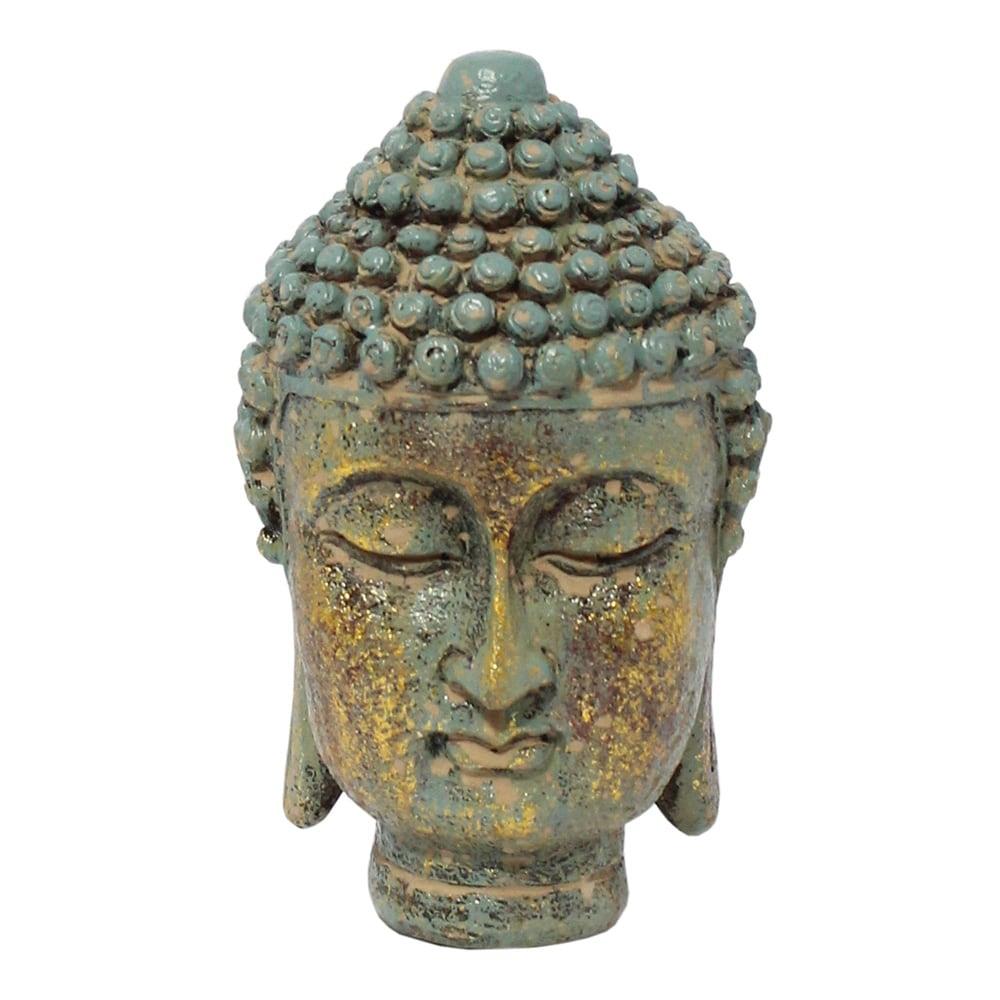 Estatueta Buda Head Verde e Dourado em Resina - 15x9,5 cm