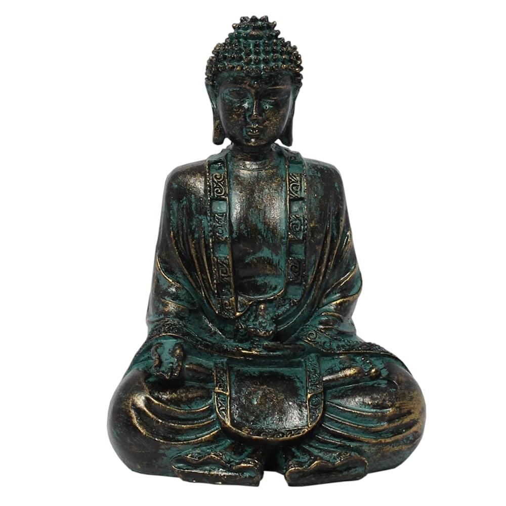 Estatueta Buda Lotus em Resina - 18x12 cm