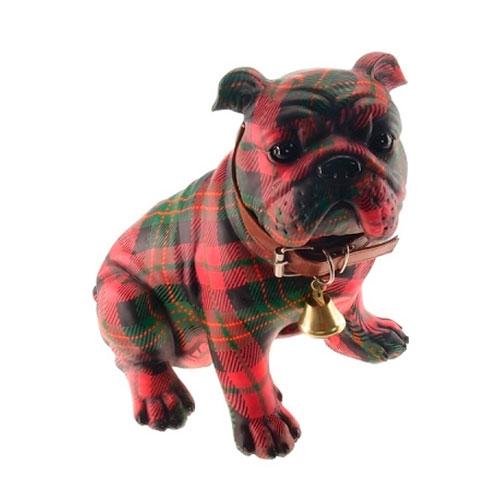 Estatueta Bulldog Xadrez em Resina - 25x23 cm