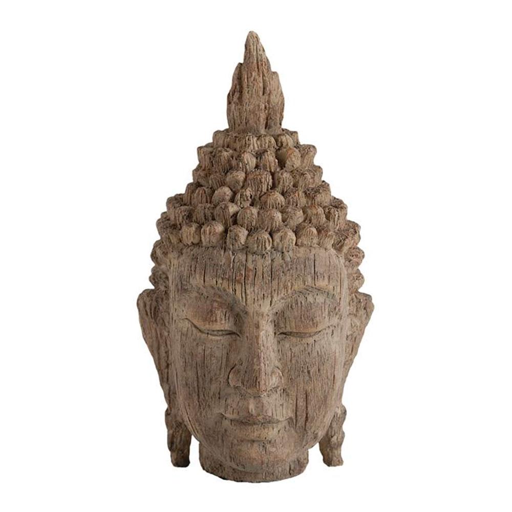 Estatueta Cabeça de Buddha Grande em Madeira - 30,4x16,5 cm