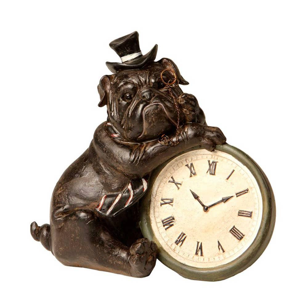 Estatueta de Cachorro Apoiado no Relógio em Resina - 20x18 cm