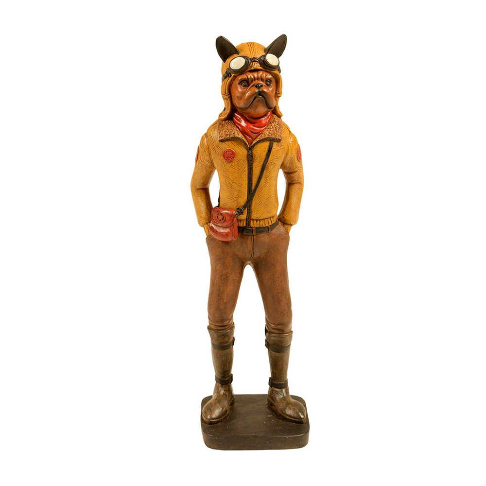 Estatueta de Cachorro Aviador com Jaqueta Amarela em Resina - 34x9 cm