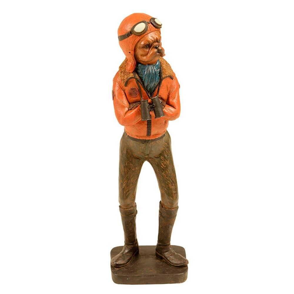 Estatueta Cachorro Aviador com Jaqueta Laranja em Resina - 33x9 cm