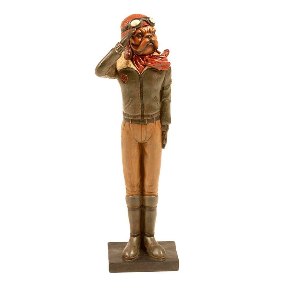 Estatueta de Cachorro Aviador com Jaqueta Verde em Resina - 33x10 cm