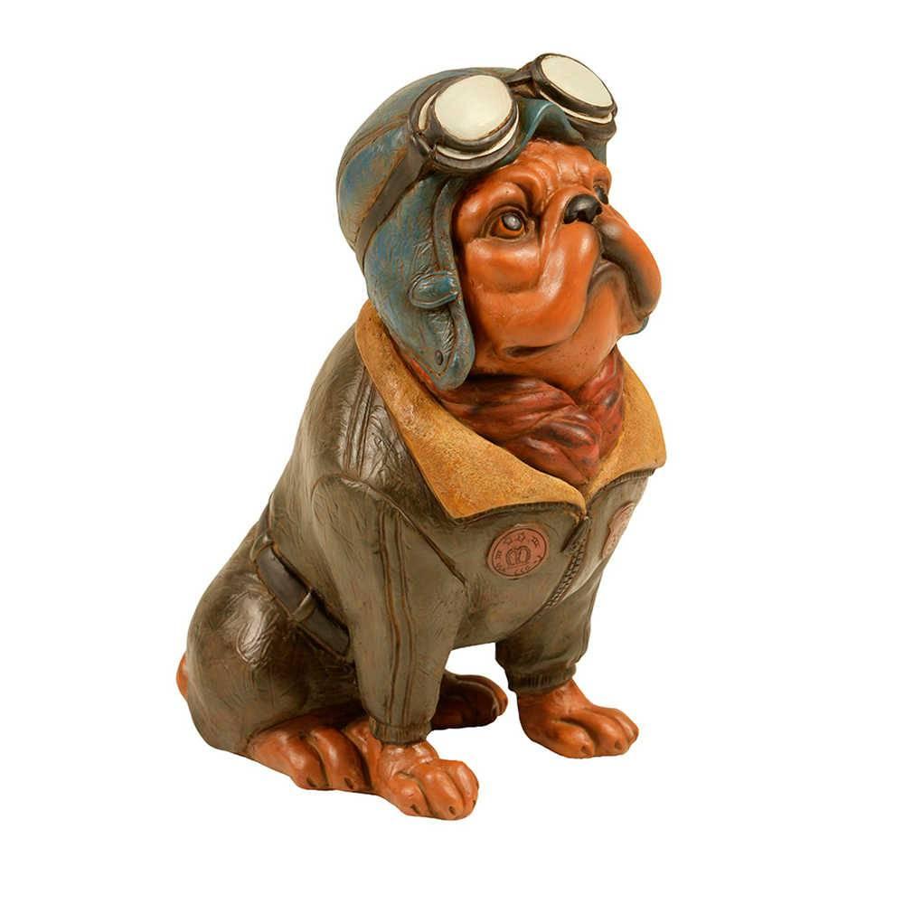 Estatueta de Cachorro Aviador Sentado com Jaqueta Cinza em Resina - 33x18 cm