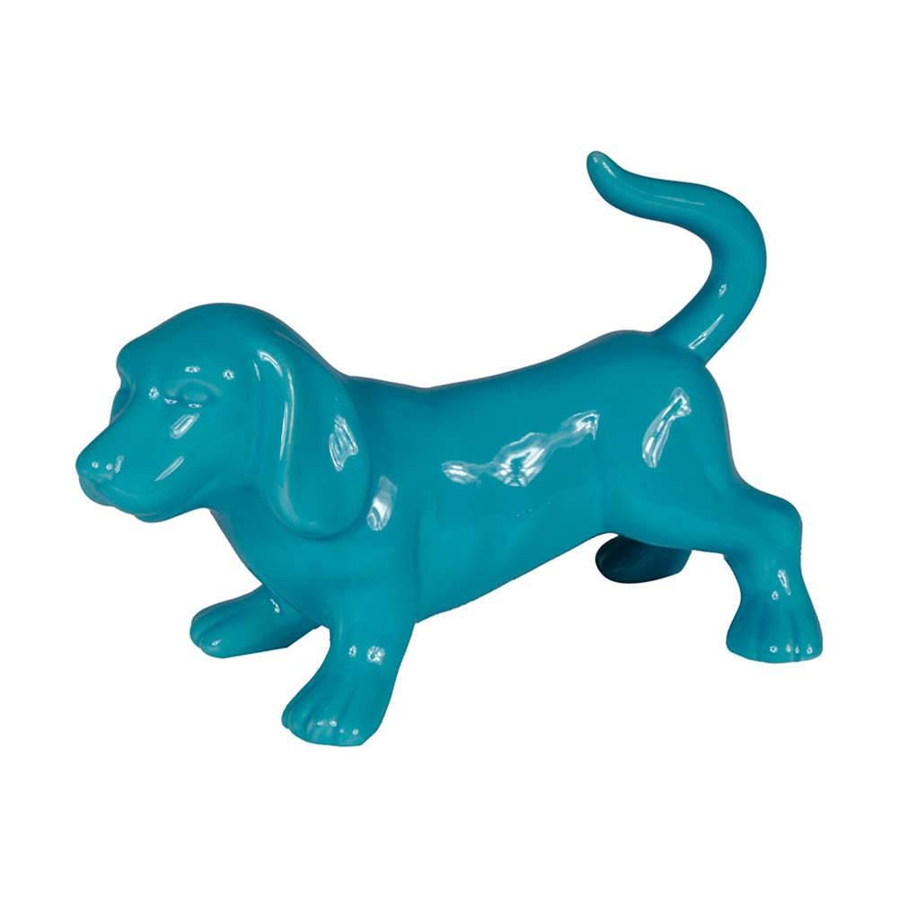 Estatueta Cachorro Bas Azul em Cerâmica - Urban - 21x14 cm