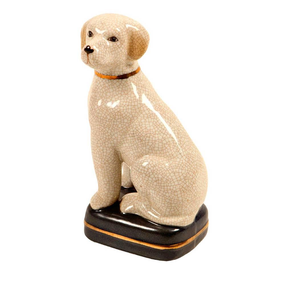 Estatueta de Cachorro Bege com Coleira Dourada em Porcelana - 21x11 cm