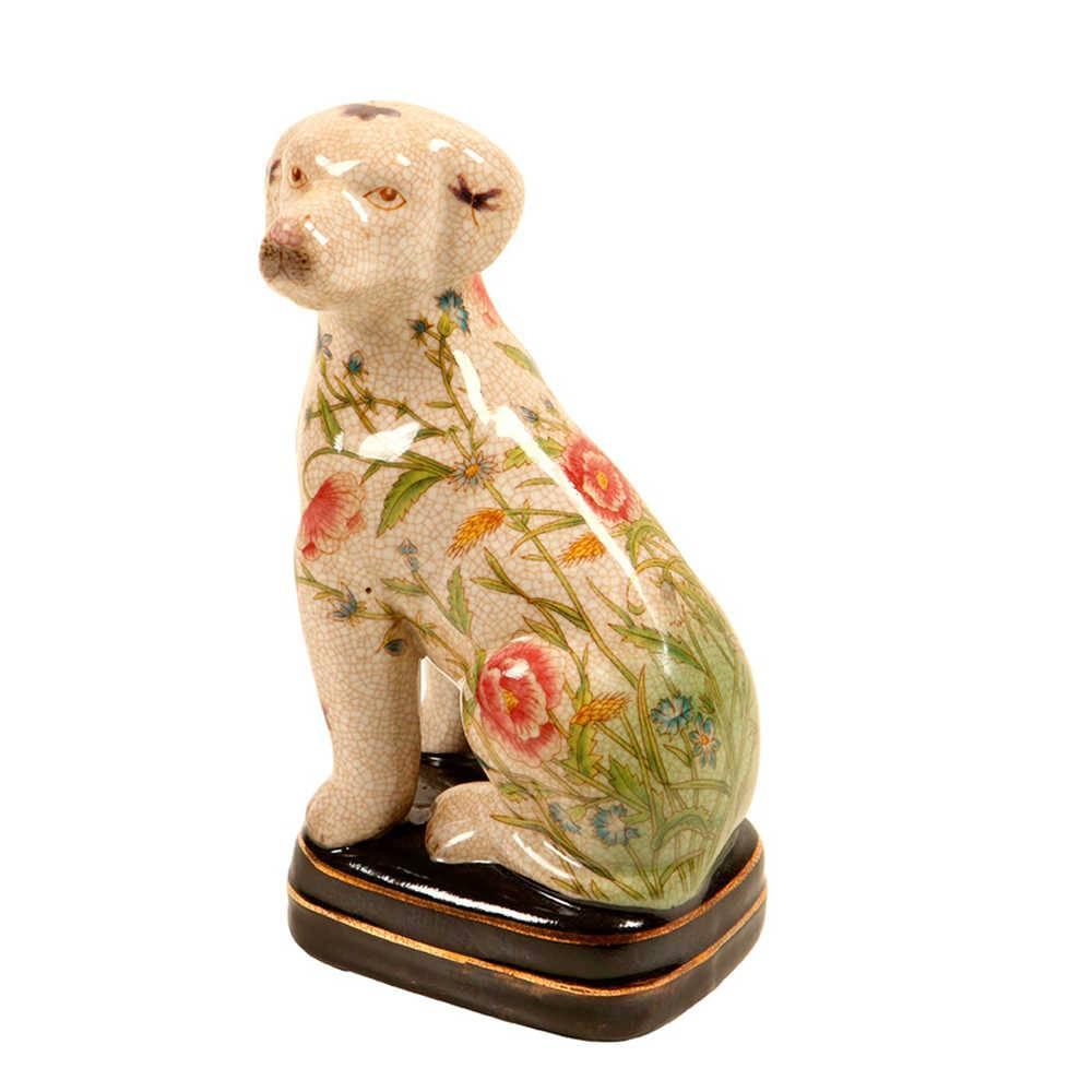Estatueta de Cachorro Bege Estampado com Flores em Porcelana - 21x11 cm
