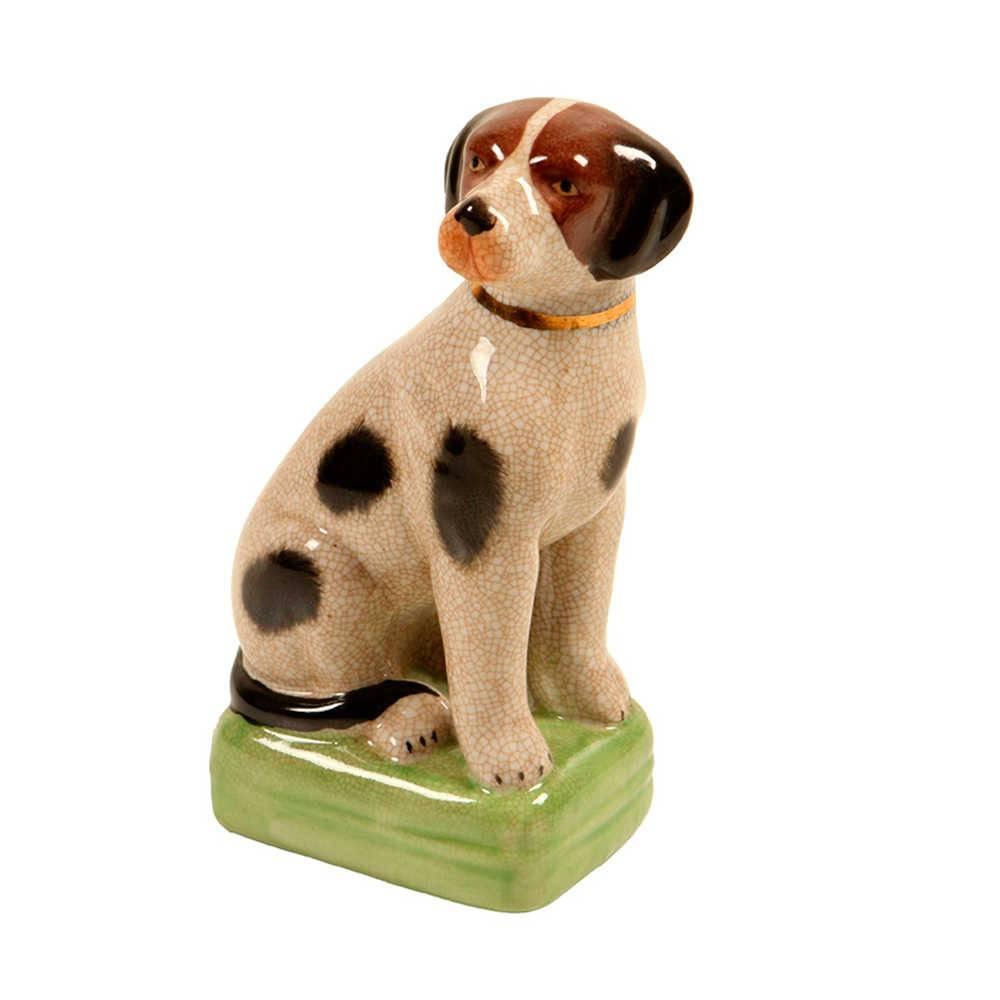 Estatueta de Cachorro Bege Pintado em Porcelana - 21x11 cm