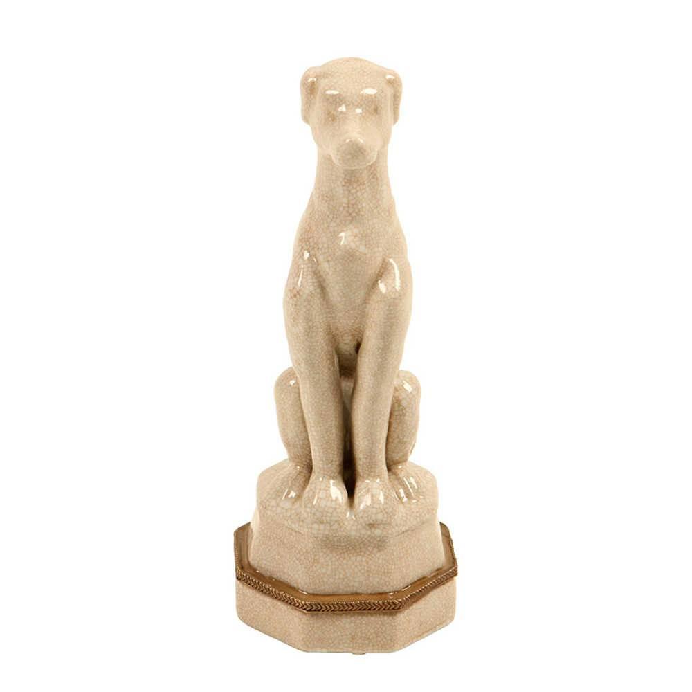Estatueta Cachorro Bege Sentado com Base em Porcelana - 25x10 cm