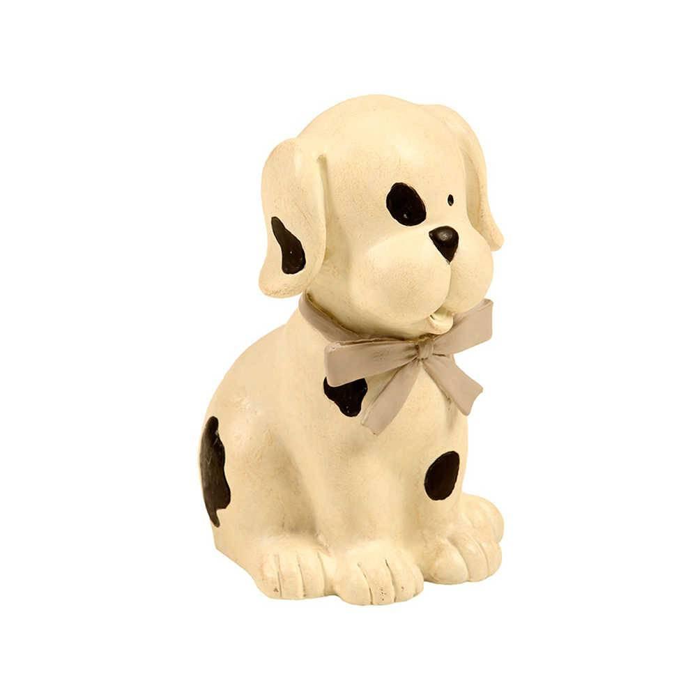 Estatueta de Cachorro Branco Pintado Sentado em Resina - 16x12 cm
