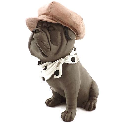 Estatueta Cachorro Bulldog com Boina Rosa e Lenço de Bolinhas em Resina - 19x17cm