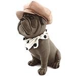 Estatueta Cachorro Bulldog Boina Rosa e Lenço de Bolinhas
