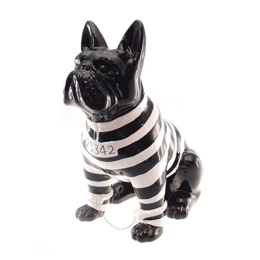 26cac0c6eda Estatueta Cachorro Bulldog Francês Prisioneiro Preto Branco em Cerâmica -  31x23 cm