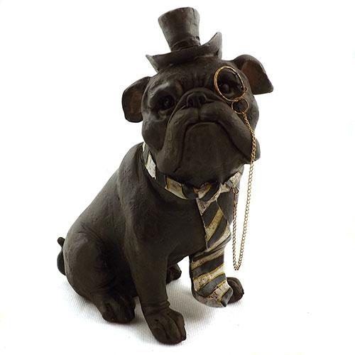 Estatueta Cachorro Bulldog com Gravata e Monóculos em Resina - 19x14 cm