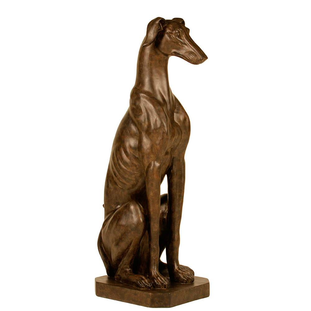 Estatueta de Cachorro Grande Sentado com Base em Resina - 80x34 cm